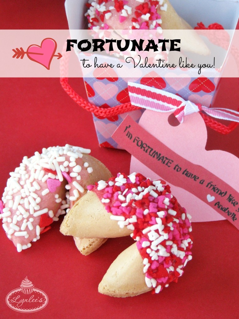 Fortunate ~ Valentine Chocolate-Dipped Fortune Cookies