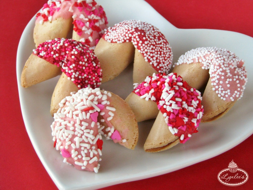 Valentine Chocolate-Dipped Fortune Cookies