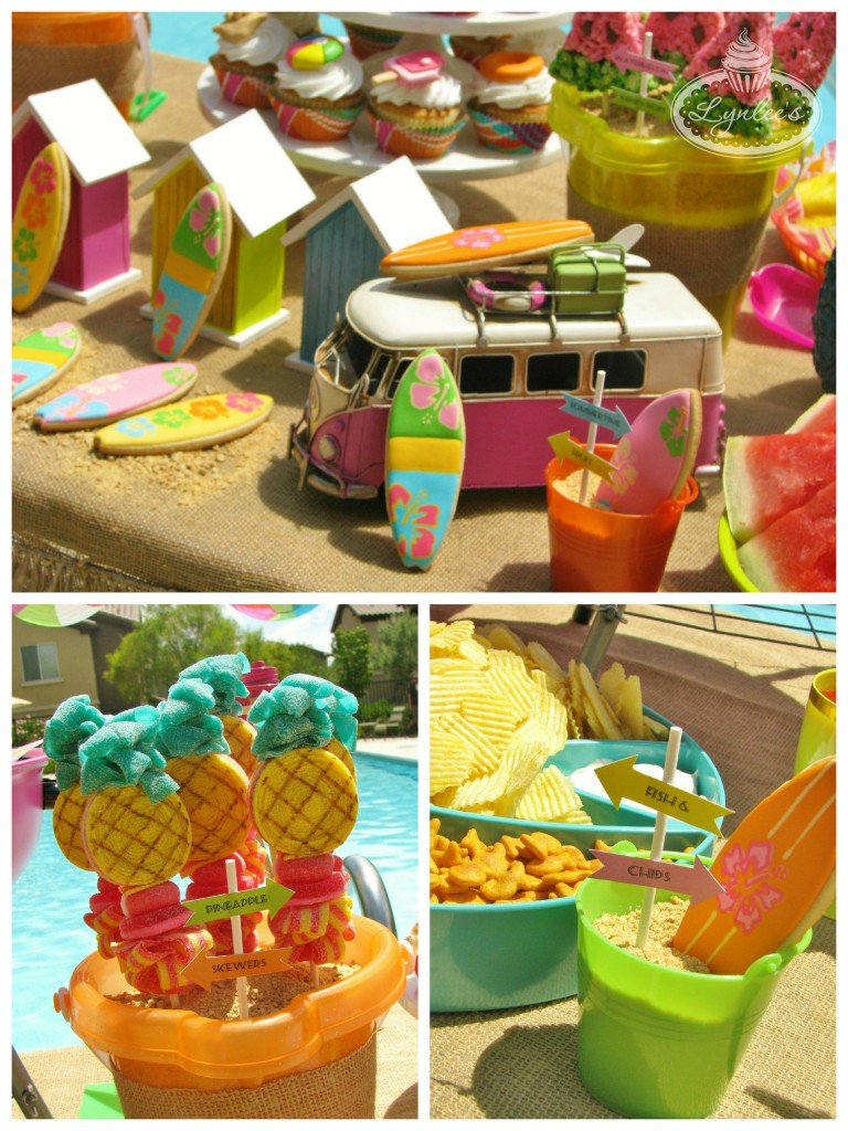 Endless Summer surf party table close-up ~ Lynlee's