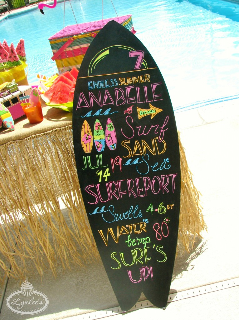Endless Summer surf party chalkboard surfboard ~ Lynlee's