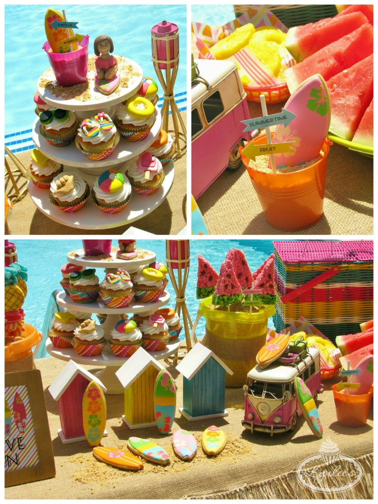 Endless Summer surf party cupcakes and cookies ~ Lynlee's
