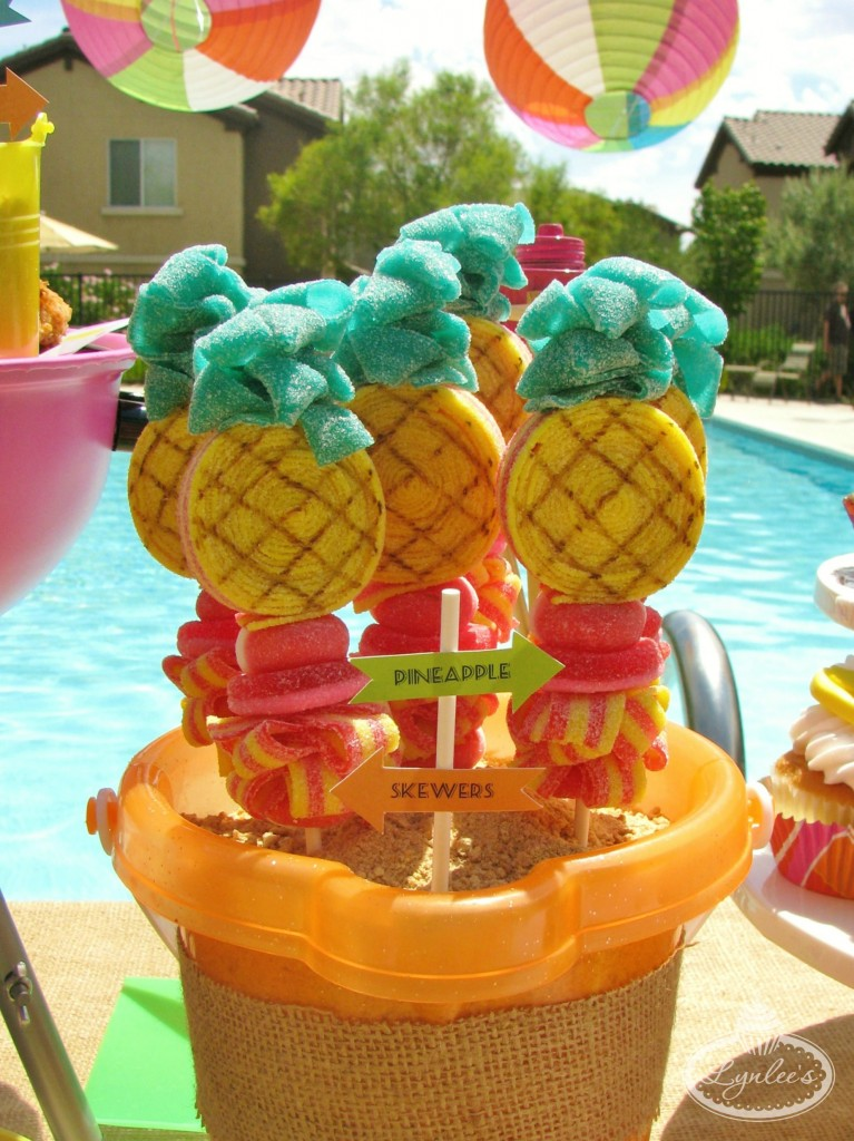 Endless Summer surf party pineapple candy kebabs ~ Lynlee's