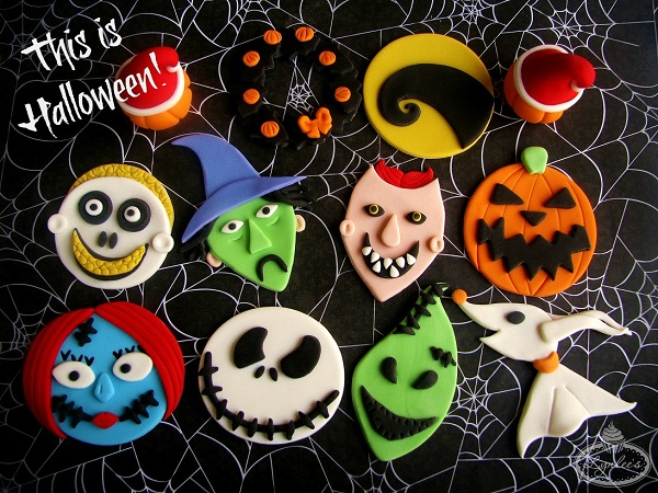 Nightmare Before Christmas Fondant Cupcake Toppers