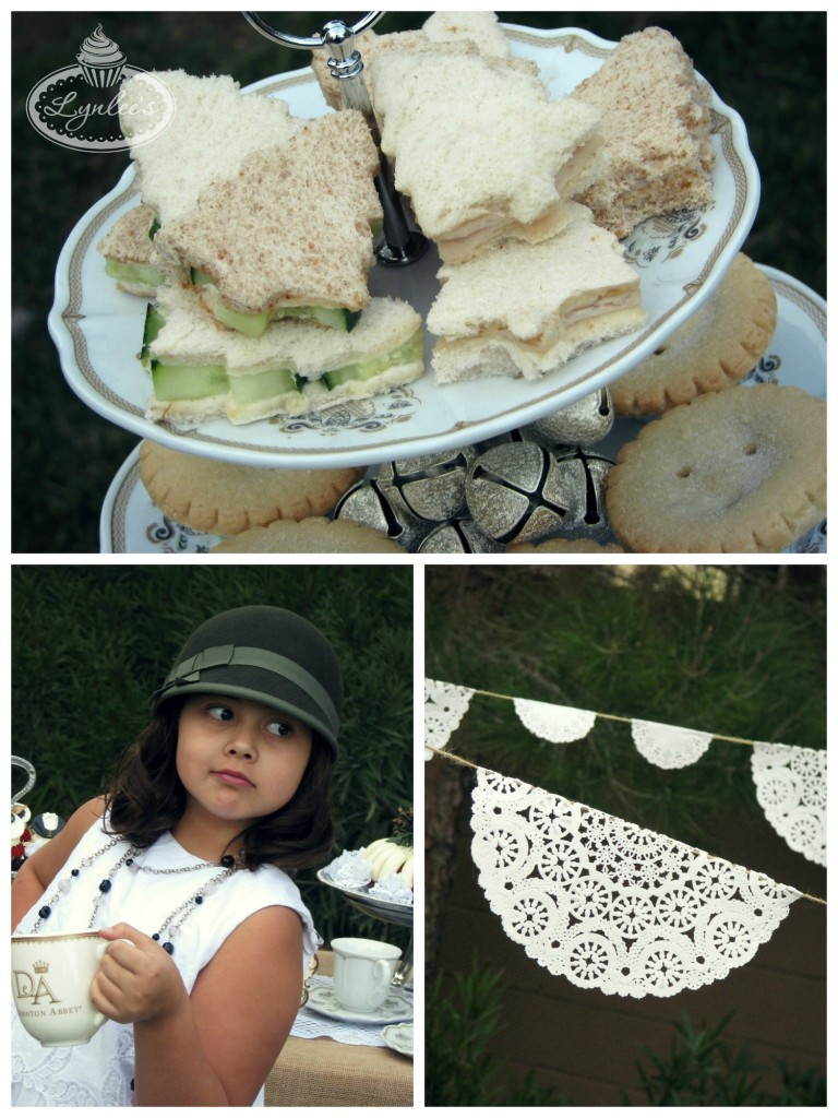 Downton Abbey Christmas sandwiches and doily decor ~ Lynlee's