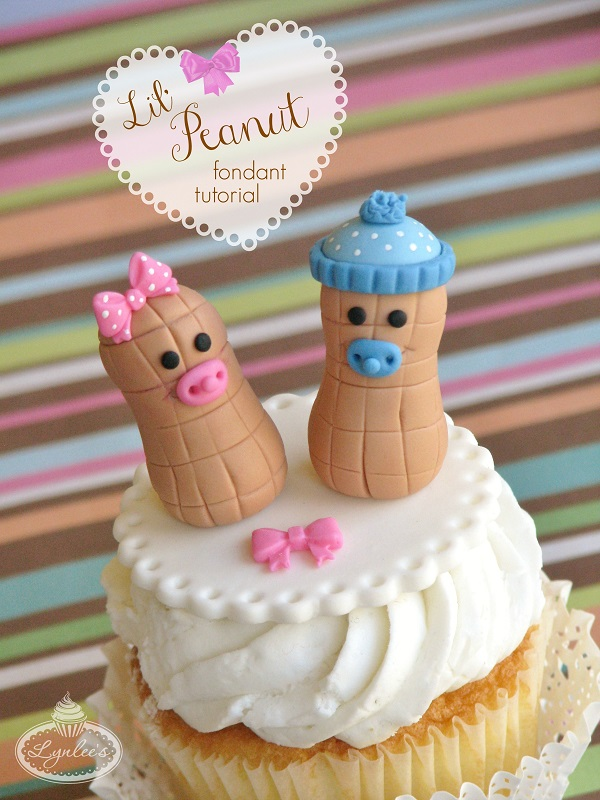 Lil' Peanut baby shower fondant topper tutorial ~ Lynlee's