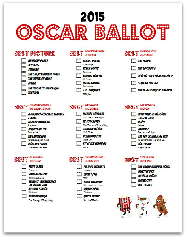 Retro Movie Night Oscar Ballot ~ Lynlee's