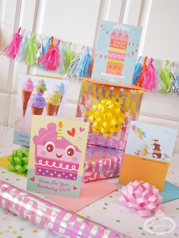 Girly birthday cards & gift wrap
