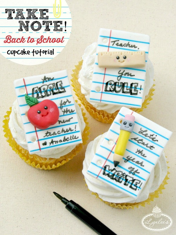 Take Note! Back to School fondant cupcake tutorial ~ Lynlee's