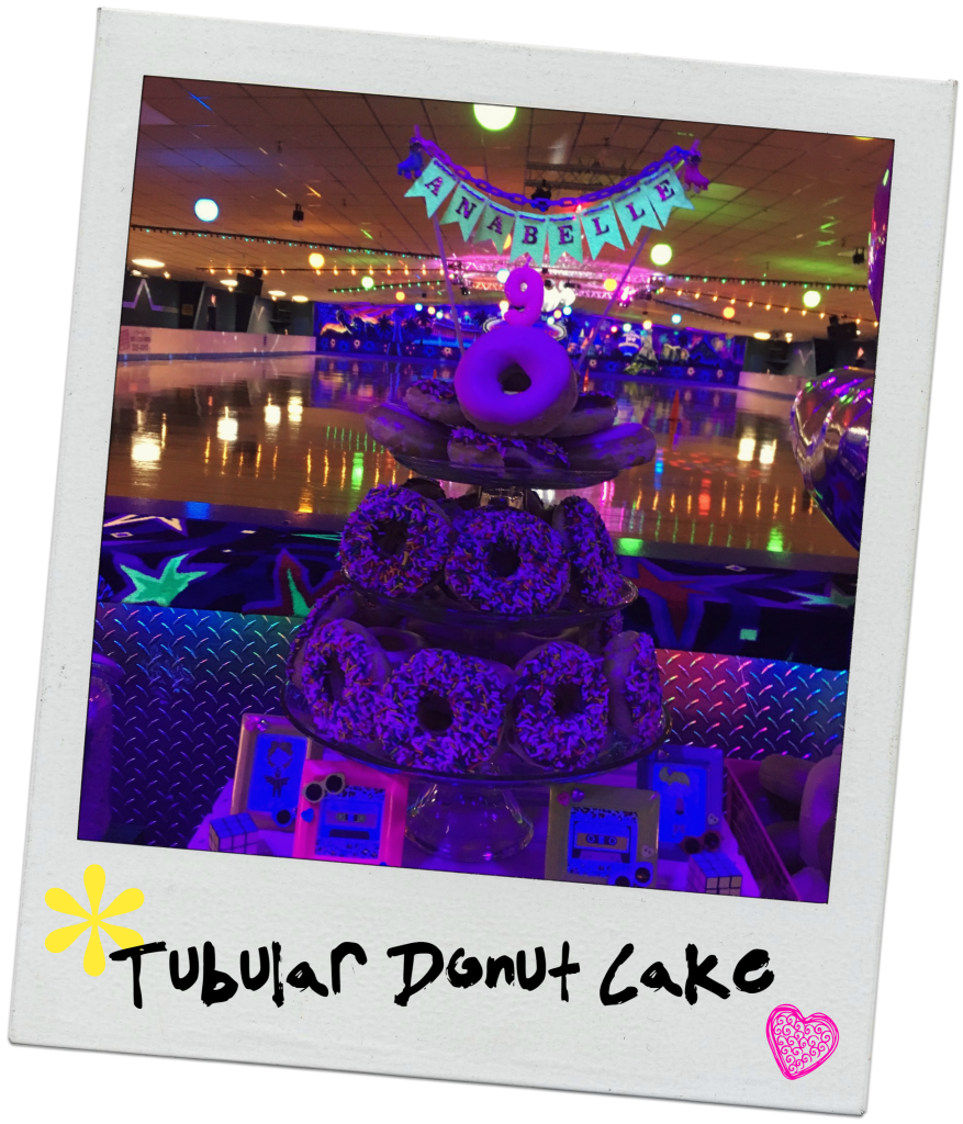 neon-80s-rollerskating-party-donut-cake